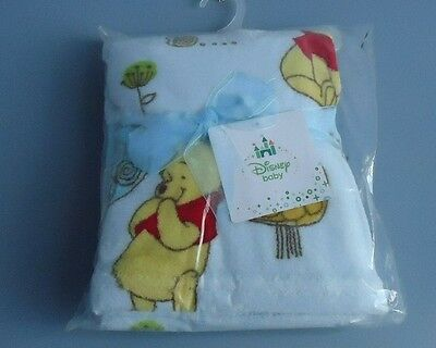 30'' By 30'' Light Blue Baby Blanket W/ Disney Character Pooh/ Disney Brand