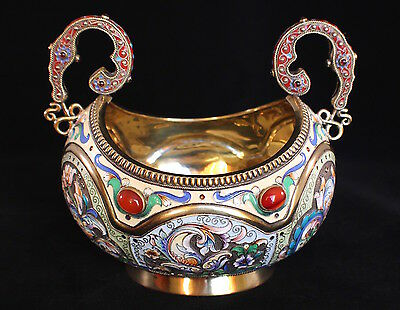 Russian Imperial Silver & Enameled Bowl By Mikhael Perkhin.large!!!