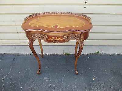 56971 Ornate Inlaid Provincial French Country Vanity Desk Chest with Drawer