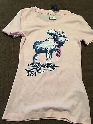 NWT  kids girls Abercrombie and fitch pink tee shirt  sz small
