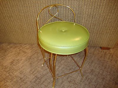 Vintage Cushioned Mid Century Vanity Salon Chair Stool Girls Room - Koch U.S.