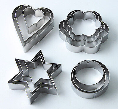 Set 12 Heart Star Cookie Cutters Cake Fondant Mould Baking Metal Mold Decorating