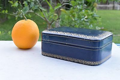 Extremely Fine Antique Italian Jewelry Box Gold Foil Blue Leather