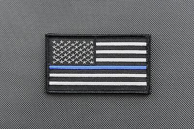"""Thin Blue Line United States Flag 3.5"""" x 2"""" Patch Police SWAT VELCRO® Brand"""