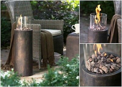 Outdoor Gas Fireplace Floor Standing Fire Pit Column Patio Heater Garden  Yard