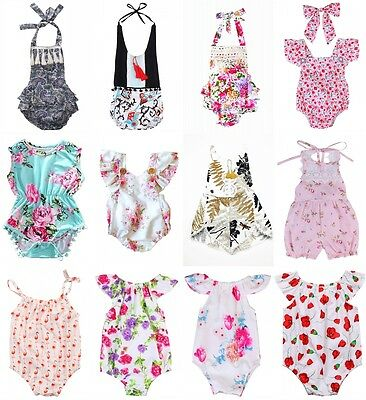Cotton Newborn Toddler Baby Girl Flower Romper Bodysuit Jumpsuit Outfits Clothes