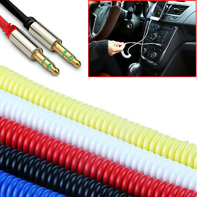 1m Coiled 3.5mm AUX Cable Mini Jack to Jack Male Audio Auxiliary Lead 5 Colours