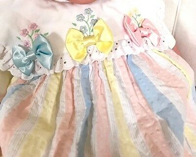 Vintage Toddler Girl 18 Mo Dress Pastels Pink Blue Yellow And Bows