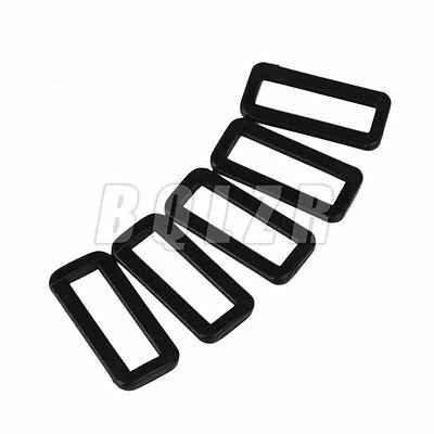 50x Plastic Rectangle Buckle Strap Loop Ring Belt Strap Keeper Black 38mm