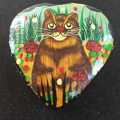 """Cat Box Brown Tabby Heart Shaped Wooden Trinket Lacquer Box 2 1/8"""""""