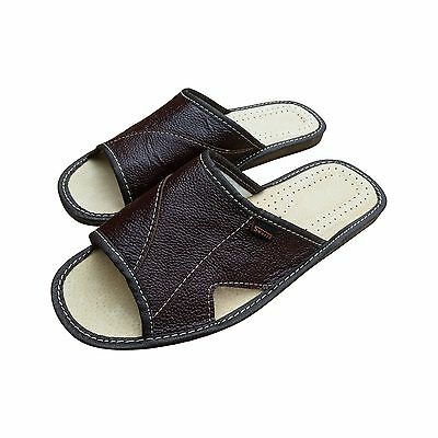 Mens Hand Made Leather Slippers Slip On Shoes Mules Dark Brown UK Open Toe