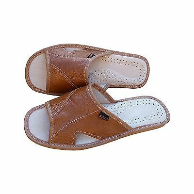 Mens Leather Slippers Slip On Mules Shoes Sandals Light Brown Size 6-11 UK