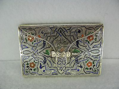 Stunning French c.1850 Enamelled Solid Silver Ladies Card Case