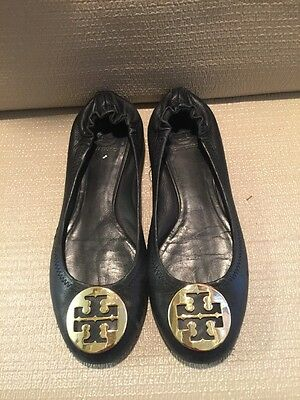 Tory Burch Ballet Flats Leather Black Size 7.5