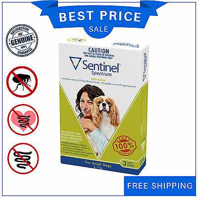 SENTINEL Spectrum Flea Heartworm control for Dog 4 to 11 Kg GREEN Pack 3 Chews