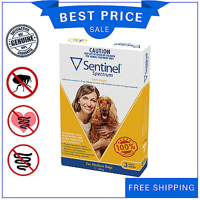 SENTINEL Spectrum Flea Heartworm control for Dog 11 to 22 Kg YELLOW Pack 3 Chews