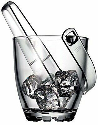Pasabahce Karat Glass Ice Bucket with Plastic Tongs Party Beer Wine Drink Cooler