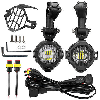BMW R1200 LED Auxiliary Fog Light Lamp + Protector Guard Wiring Harness Set