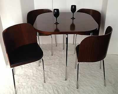 Mid Century Modern Style Dining Set Table and 4 Chairs Wood & Chrome