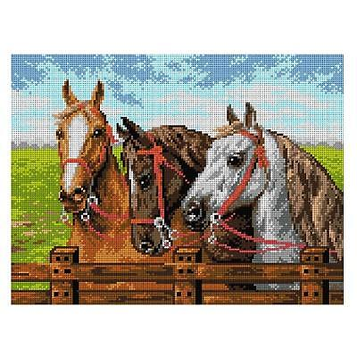 Deco-Line Printed Tapestry/Needlepoint Canvas – Three Horses at the Fence
