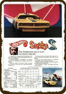 1970 HOT WHEELS SNAKE FUNNY CAR Vintage Look REPLICA METAL SIGN - DON PRUDHOMME