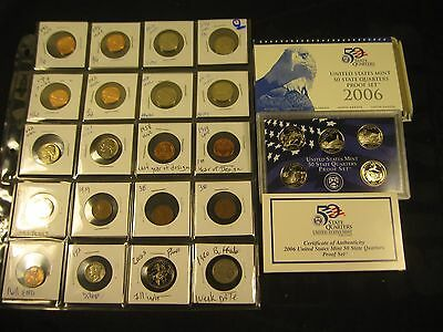 20~MIX COINS, {unc,proof, silver & cir} WITH 2006-S QUARTER PROOF SET