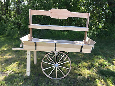 Wooden Bakery/Produce Cart Natural Wood with authentic Amish Wagon Wheels