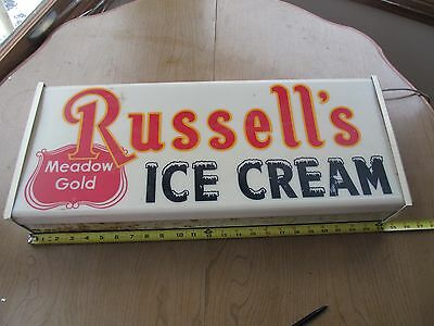 """Vintage Meadow Gold Russell's Ice Cream Working Lighted sign. 23' x 10"""""""