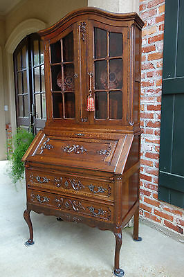 Antique French Carved Oak Desk Secretary Bureau Bookcase Dome Top Drop Front