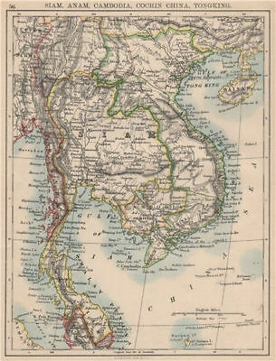 INDOCHINA.Siam with British & French spheres. Burma Cambodia Anam  1895 map