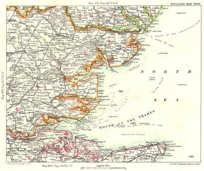 THAMES ESTUARY/HAVEN PORTS. Suffolk Essex Kent Medway Ipswich Harwich 1893 map