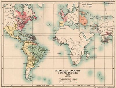 EUROPEAN COLONIES 1763. British French Spanish Dutch. Cook's Voyages 1902 map