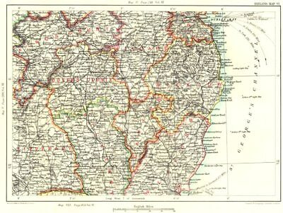 LEINSTER.Offaly Laois Kildare Dublin Wicklow Tipperary Kilkenny Wexford 1893 map