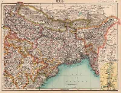 INDIA NORTH EAST. Bengal Assam Nepal Bhutan Orissa. Calcutta (Kolkata)  1901 map