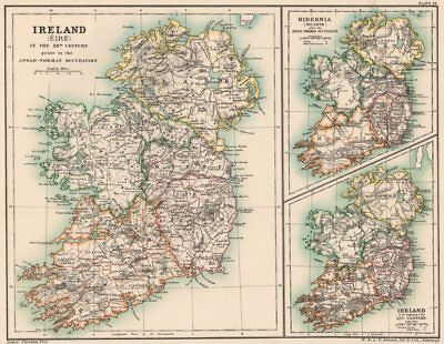 IRELAND EIRE HIBERNIA. 12th Century pre/post Anglo-Norman occupation 1902 map