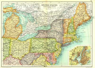 USA NORTH EAST. Physical. Railways. Inset New York City. Cassells. 1909 map