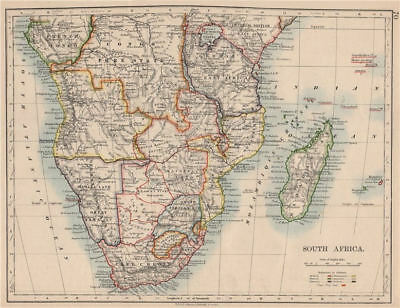 COLONIAL SOUTHERN AFRICA. German/British/Portuguese/French. JOHNSTON 1895 map