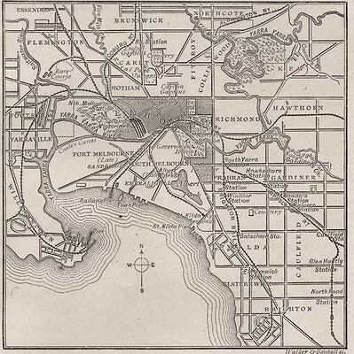 Map of Greater Melbourne. Melbourne. Australia 1890 old antique plan chart