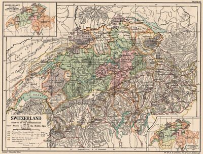 GROWTH OF SWITZERLAND.Medieval passes used.19/22 cantons Mediation 1815 1902 map