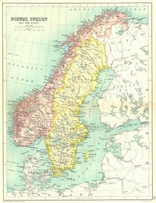 SCANDINAVIA. Norway, Sweden and the Baltic. Cassells 1909 old antique map