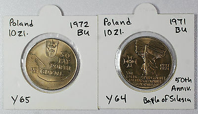 Poland - Set of Two Uncirculated 10 Zlotych Commemorative Coins - 1971 & 1972