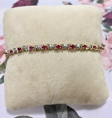 9ct Yellow Gold Ruby & Diamond Tennis Bracelet