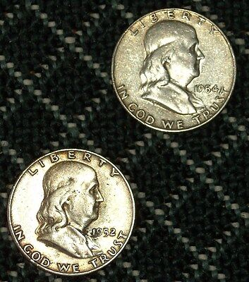 Two (2) Circulated Ben Franklin Silver Half Dollars.  1952S 1954D,