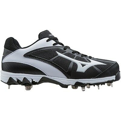 Mizuno Women's 9-Spike Select 2 Metal Fastpitch Softball Cleats BK/WH Size 6
