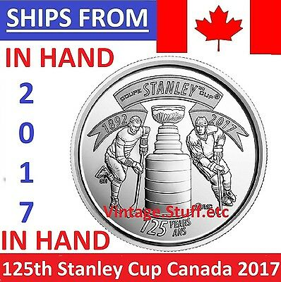 IN HAND - 2017 Canada 25 Cents 125th Anniversary Stanley Cup Quarter UNC SEALED