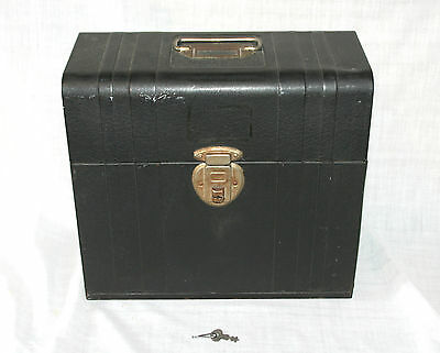 Vintage Metal File Chest by Union Steel No. 1014 Black Green With Key