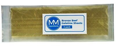 5 Bronze Beef Leaf gelatine sheets. Sheet gelatine or gelatine leaves