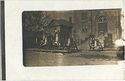 Vintage Postcard B & W Cast Iron Bells in front of Building, maybe landmark?