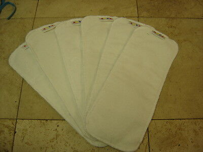Alva Lot of 6 Bamboo Inserts For Cloth Diapers