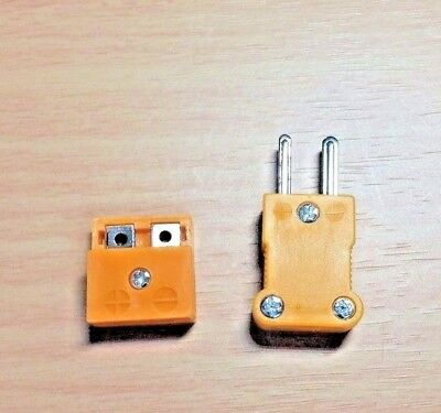 1 PAIR - K Type Plug Male Female Connectors for Thermocouple Temperature Sensors